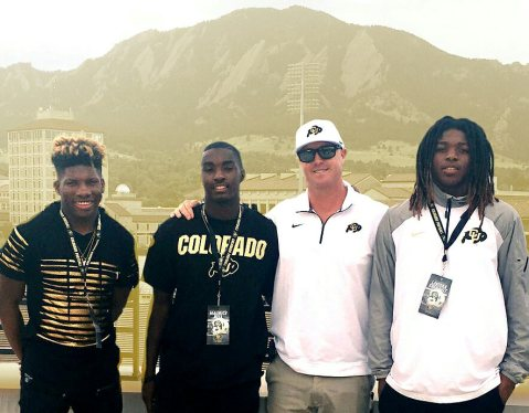 Coach Chev with WR commits